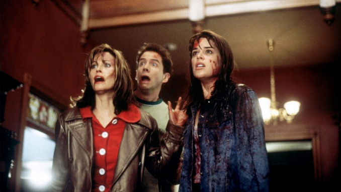"Courteney Cox, Jamie Kennedy, and Neve Campbell in ""Scream"" (1996)"