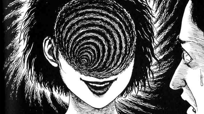 "A panel from Junji Ito's ""Uzumaki"""
