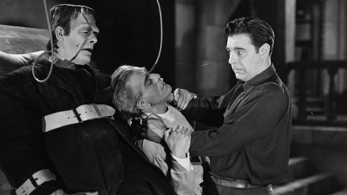 "Glenn Strange, Boris Karloff and Lon Chaney, Jr. in ""House of Frankenstein"" (1944)"