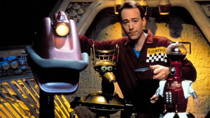 Joel Hodgson with Gypsy, Crow T. Robot and Tom Servo