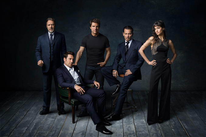 Russell Crowe (Dr. Henry Jekyll), Javier Bardem (Frankenstein's Monster), Tom Cruise (Nick Morton), Johnny Depp (The Invisible Man), Sofia Boutella (The Mummy)