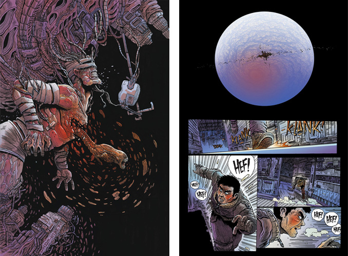 "Cover and first page of ""Aliens: Dead Orbit"" #1"