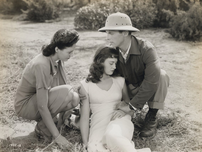 "Virginia Christine, Kay Harding, and Dennis Moore in ""The Mummy's Curse"" (1944)"