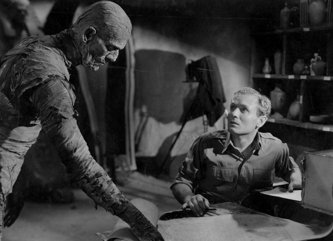 "Boris Karloff and Bramwell Fletcher in ""The Mummy"" (1932)"