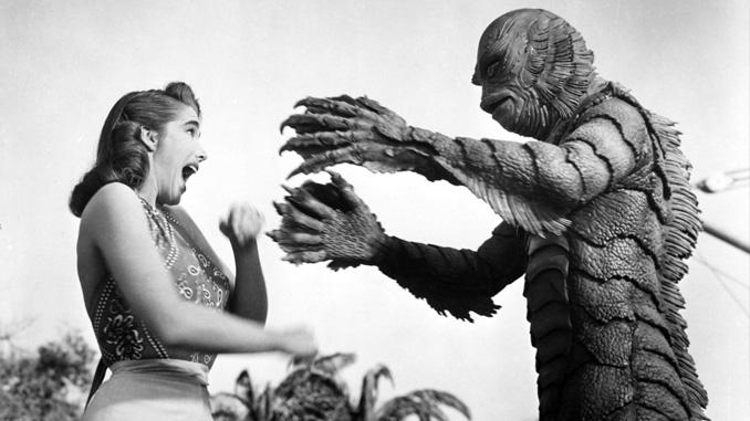Julie Adams and Ben Chapman in Creature from the Black Lagoon (1954)