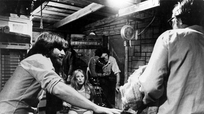 "Tobe Hooper on the set of ""The Texas Chain Saw Massacre"" (1974)"