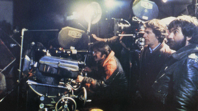 "Tobe Hooper and Steven Spielberg on the set of ""Poltergeist"" (1982)"