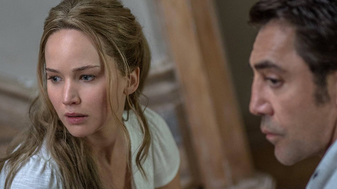 Jennifer Lawrence and Javier Bardem in Mother! (2017)