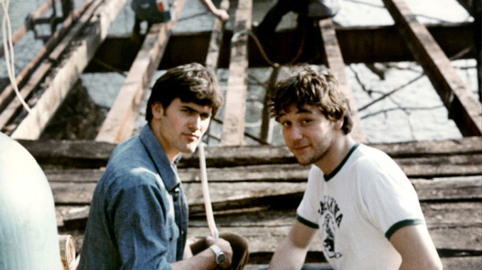 "Bruce Campbell and Sam Raimi on the set of ""The Evil Dead"" (1981)"