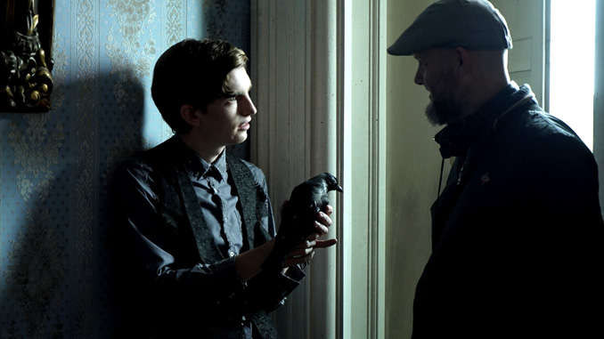 Bill Milner and Director Brian O'Malley on set