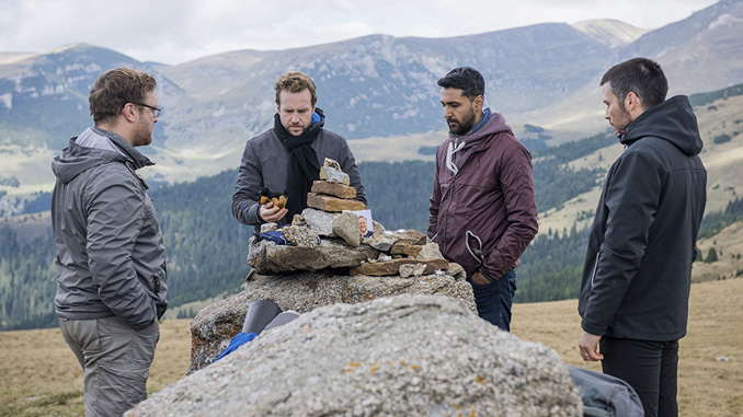 Sam Troughton, Rafe Spall, Robert James-Collier, and Arsher Ali in The Ritual